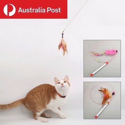 AU5.69 • Buy Cat Toy Feather Teaser Wand Interactive Stick Kitten Pet Fun Wire Beads 100CM