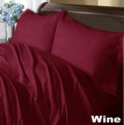 1000 Thread Count Egyptian Cotton Duvet Cover Set UK Sizes Color Wine Striped • 65.99£