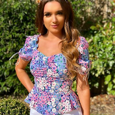 Women's Ladies Luxe Volition Holly Floral Ruched Front Tie Detail Peplum Top • 14.99£