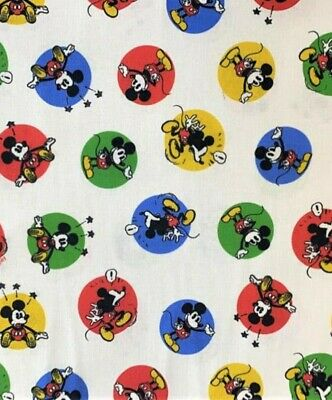 1MTR.  LITTLE JOHNNY  DISNEY  MICKEY MOUSE STICKERS 100 % Cotton FabriC 60 W. • 11.99£