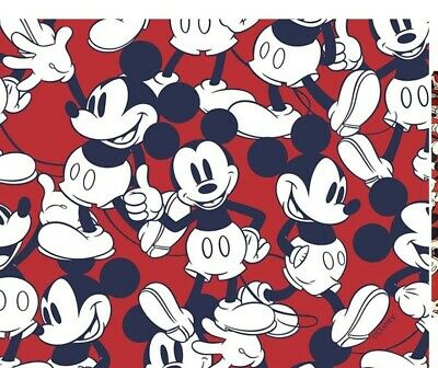1 MTR. LITTLE JOHNNY DISNEY  HAPPY MICKEY MOUSE 100 % Cotton FabriC 60 W. • 11.99£