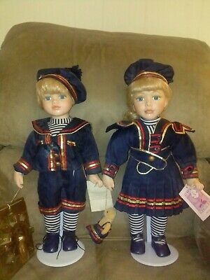 $ CDN69.43 • Buy Sailor Porcelain Doll 16  Lot  Boy & Girl & Teddy BearJennifer Karl NEW