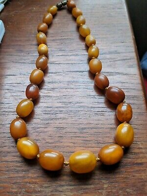 £695 • Buy Fine & Genuine Antique Butterscotch Amber Bead Necklace - Beautiful Old Beads