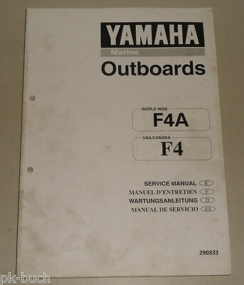 AU155.89 • Buy Workshop Manual Yamaha Outboard Motor Navy Outboards F4A F4 Stand 02/1998