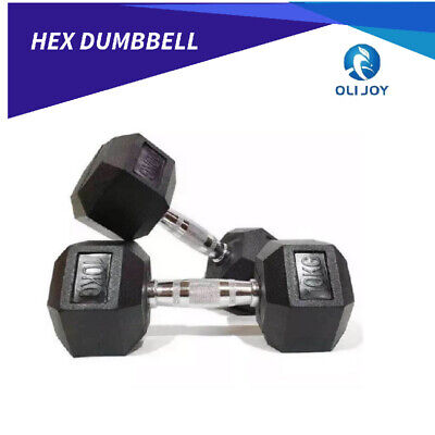 AU175 • Buy 1 Pair Hex Rubber Coat Iron Dumbbell Home Gym Strength Weight Training 2.5-20kg