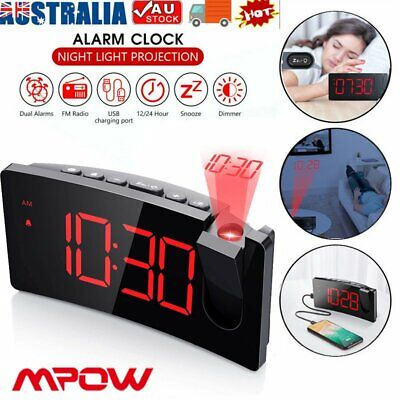 AU43.22 • Buy Smart Digital LED Projection Alarm Clock Time USB Charging Projector LCD Display