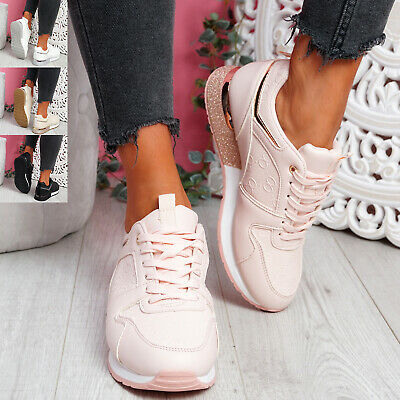 $ CDN33.51 • Buy Womens Ladies Lace Up Glitter Sole Trainers Sneakers Party Women Shoes Size
