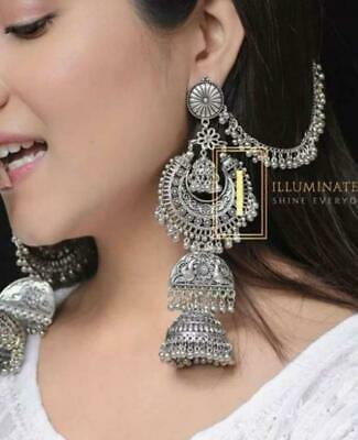 AU17.38 • Buy Indian Traditional Bollywood Silver Oxidized Long Jhumka Jhumki Earrings