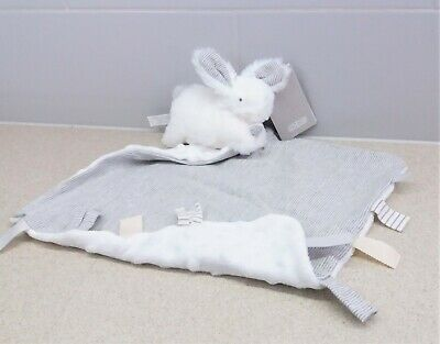 £34 • Buy Mamas & Papas Grey White Striped Bunny Rabbit Soft Toy Comforter Soother Blankie