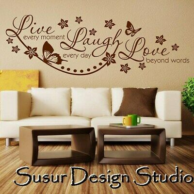 £0.99 • Buy Wall Sticker Quote Art Live Laugh Love Decal Decor S07