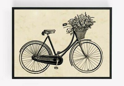 £2.99 • Buy Bicycle Flower Print Picture Wall Art Unframed Vintage Home Decor  A4