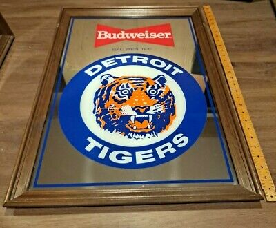 $ CDN379.70 • Buy Vintage 1989 Budweiser Salutes Detroit Tigers Beer Mirror Bar Sign 28  X 20