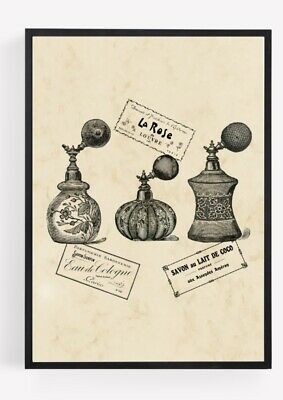 £2.84 • Buy Vintage Perfume Fragrance Bottle Print Picture Wall Art Unframed Home Decor A4 1