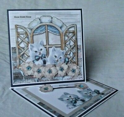 New Home Twisted Easel Style Greeting Card With Cute Kittens At The Window • 2.99£