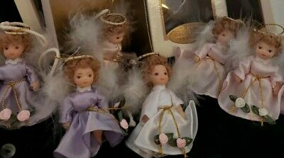 "$ CDN37.86 • Buy Small Porcelain Angel Doll Lot Of 6 Satin Dress 3"" Ornament NIB Christmas CUTE!!"