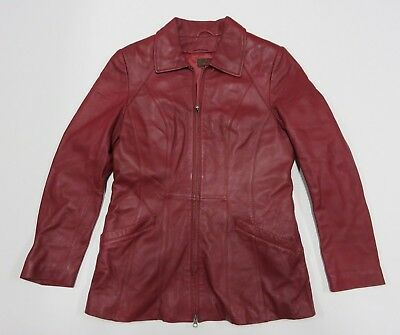 $ CDN44.34 • Buy DANIER Maroon Leather Jacket Long Sleeve Full Zip Up Women's Size X-Small