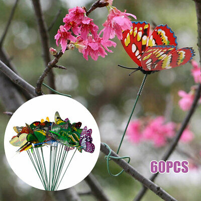 60pcs Colorful Garden Butterflies Stakes Patio Home Ornaments On Sticks Lawn • 8.99£