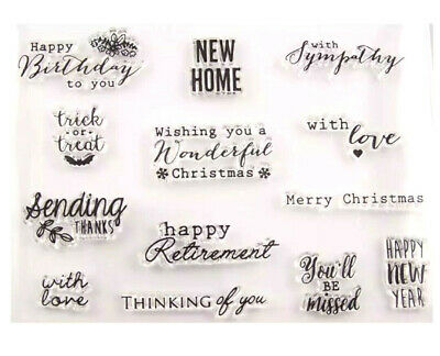 13 Sentiments Stamps/words/sayings Stamp/new Home/thanks/birthday/christmas/love • 6£