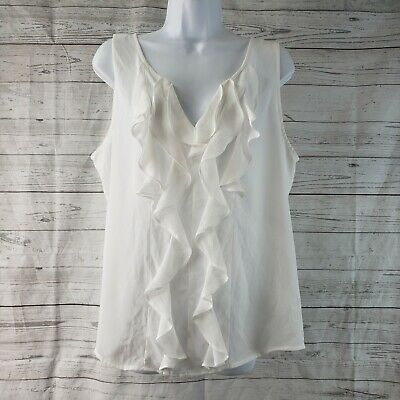 $ CDN21.76 • Buy White House Black Market Womens Top Sz 14 Ruffle Front Sleeveless