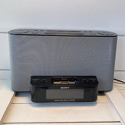 AU62.97 • Buy Sony FM/AM Alarm Clock Radio Speaker Dock For IPod/iPhone ICF-CS10iP Black/Gray