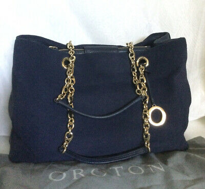 AU139 • Buy OROTON Blue Leather Tote/Shoulder Bag / Handbag With Dustbag