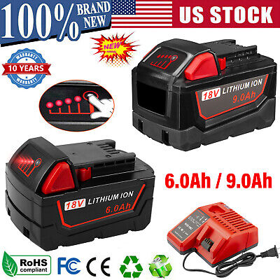 $44.99 • Buy For Milwaukee M18 XC 9.0 AH Extended Lithium-ion Battery 48-11-1890 Fast Charger