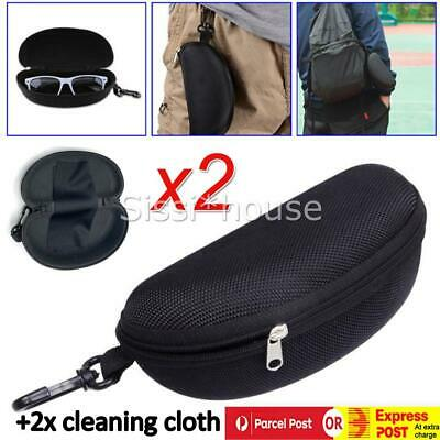 AU13.98 • Buy 2x Sunglasses Case Hard Zipper Eyeglass Cases Zip Eye Glasses Case Protector Box