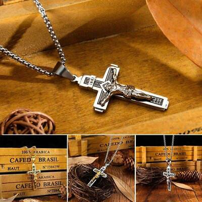 £5.88 • Buy Mens Stainless Steel Jesus Christ On INRI Cross Crucifix Pendant Necklace Chain