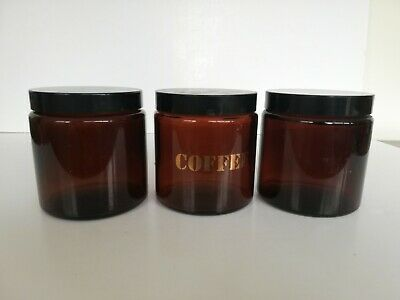 3 X Vintage Retro Brown Glass Canister Jars Coffee Tea Sugar CLP With Lids • 6.50£