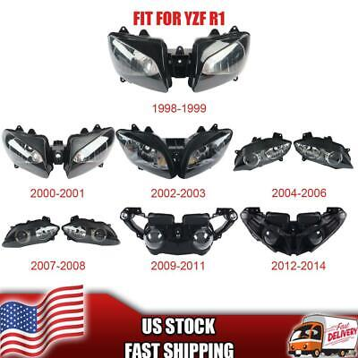 $49 • Buy MT Front Motorcycle Headlight Headlamp Fit For Yamaha 1998-2014 YZF R1 A019