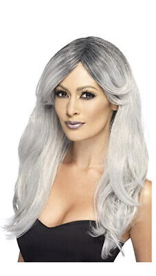 Adult Ladies Grey Ombre Ghostly Zombie Bride Wig Fancy Dress Halloween Accessory • 11.99£