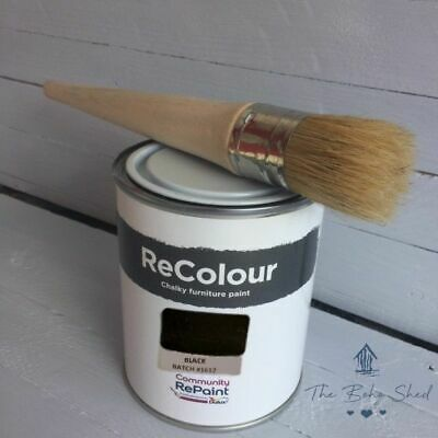 750ml CHALK JET BLACK Furniture PAINT Chalky Matt Smooth Great Finish Eco Friend • 12.95£