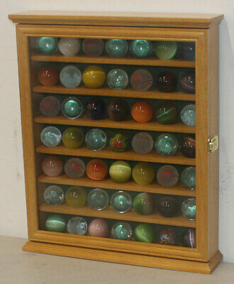 Marble/Bouncy Ball Display Case Rack Cabinet With Glass Door, Oak Finish • 57.85£