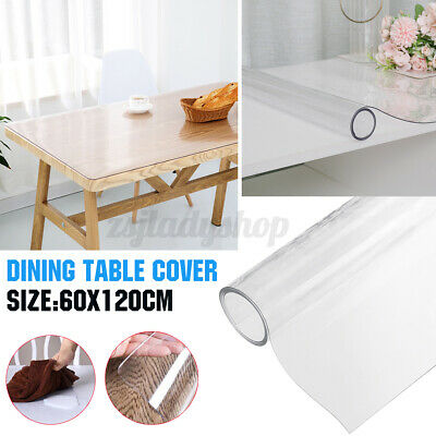 AU23.79 • Buy 60x120cm PVC Dining Table Desk Cover Thick Protector Tablecloth Crystal Clear AU