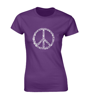 £6.99 • Buy Peace Hands Ladies T Shirt Cool Retro Peace Sign Hippy Love Fashion Top New