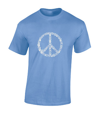 £6.99 • Buy Peace Hands Mens T Shirt Cool Retro Peace Sign Hippy Love Fashion Top New