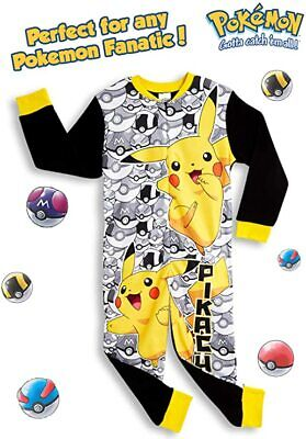 Pokemon All In One Pyjamas With Pikachu And Poke Balls For Boys • 15.49£