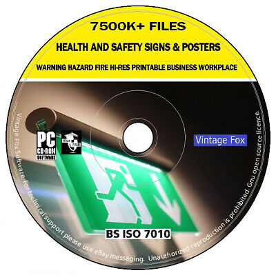 £3.99 • Buy 7500K Health And Safety Hi-Res Printable Signs Posters Warning Hazard Fire DVD