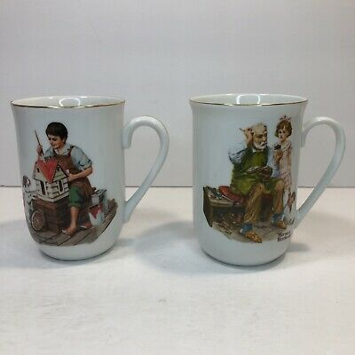 "$ CDN18.93 • Buy Norman Rockwell Museum Mugs 1982 ""A Dollhouse For Sis"" ""The Cobbler"" Set Of 2"
