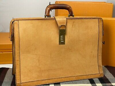 $399 • Buy HARTMANN Tan Belting Leather Lawyer Attorney Doctor Briefcase Attache Bag
