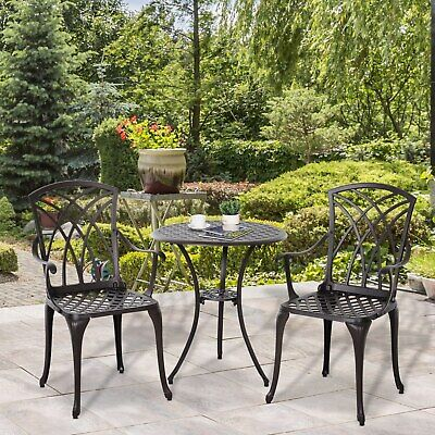 £159.99 • Buy Outsunny 3 PCs Cast Aluminium Coffee Table Chairs Outdoor Garden Bistro Set