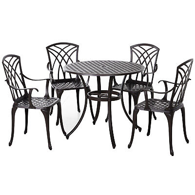 £339.99 • Buy Outsunny 5 PCs Cast Aluminium Table 4 Chairs Outdoor Garden Dining Furniture Set