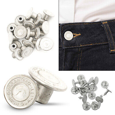 £2.49 • Buy 14mm Jeans Buttons With Pins For Denim Jackets Craft Hammer On Matt Silver Color