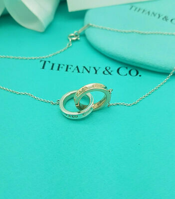£347.99 • Buy Tiffany & Co. Sterling Silver And Rubedo 1837 Interlocking Circle 16  Necklace