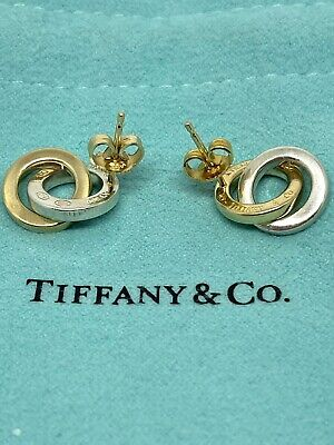 £389.69 • Buy Tiffany & Co. Interlocking Circle Earrings In 18K Yellow Gold And Sterling