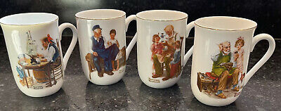 $ CDN20.79 • Buy Norman Rockwell Museum Collection 1982 Coffee Mugs Cups Gold Trim Set Of 4