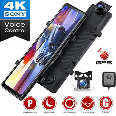 AU146.56 • Buy 4K 12  Touch Mirror Dash Cam GPS Car Voice Control Backup Rear View Video Camera
