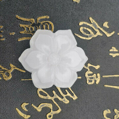 $ CDN4.12 • Buy Fashion Chinese White Jade Hand Carved Lotus Flower Lucky Pendant Jewelry Gift