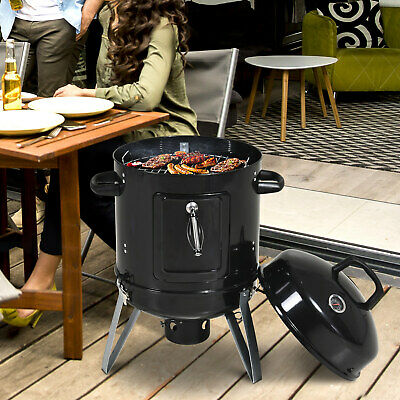 £42.99 • Buy Outsunny Charcoal Smoker Grill Metal Outdoor BBQ Smoking W/ Thermometer - Black