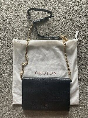 AU89 • Buy Original RRP$249 OROTON Avalon Fold Over Chain Crossbody Bag. Black Leather